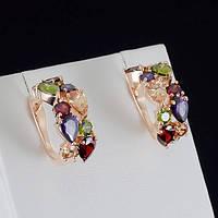 Роскошные серьги с кристаллами Swarovski, покрытые слоями золота 0800
