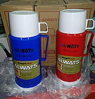 Термос стеклянный ALWAYS 1 л + чашка, фото 1