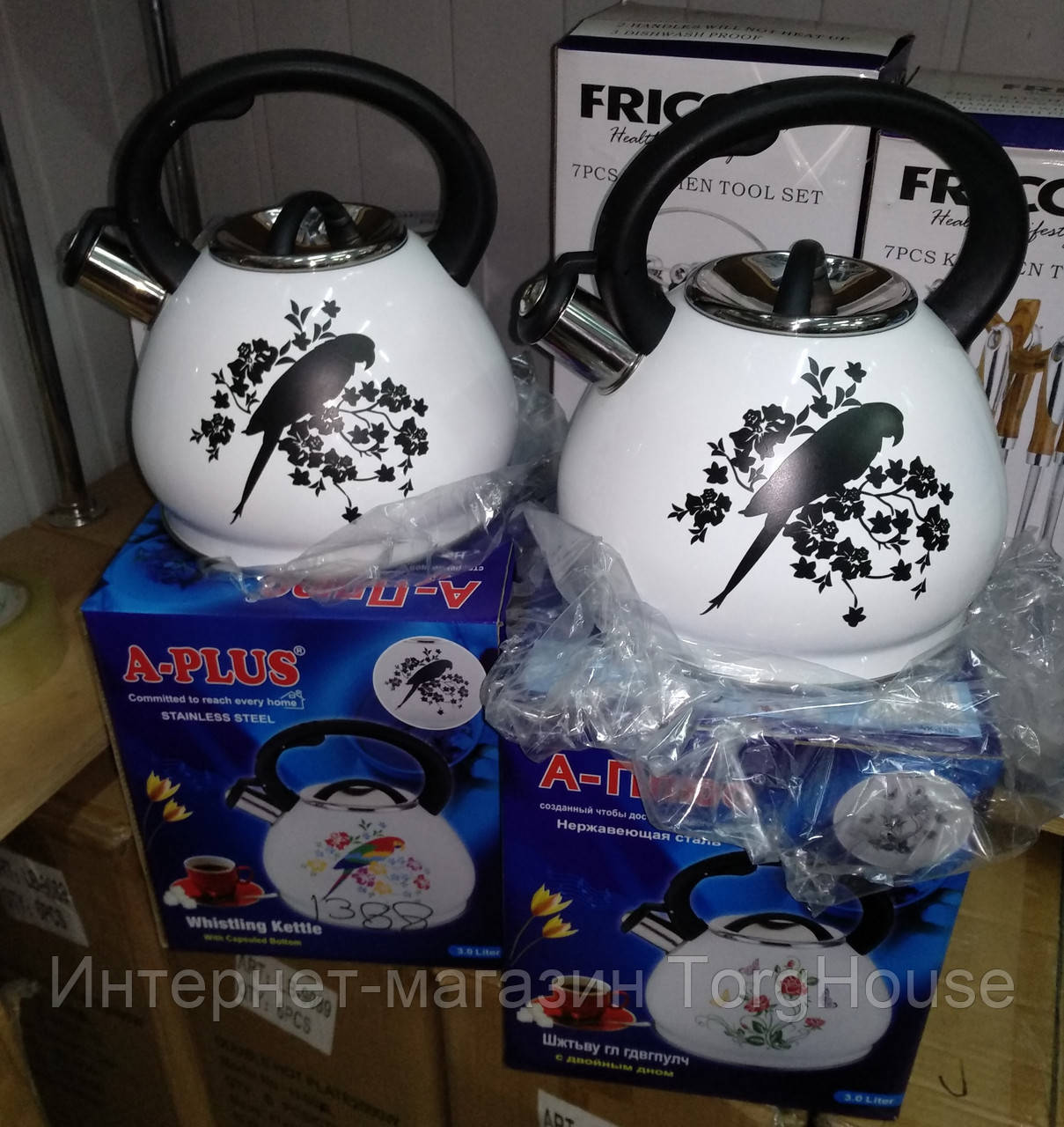 Чайник со свистком A-PLUS WK-1388, 3 л (индикатор нагрева)