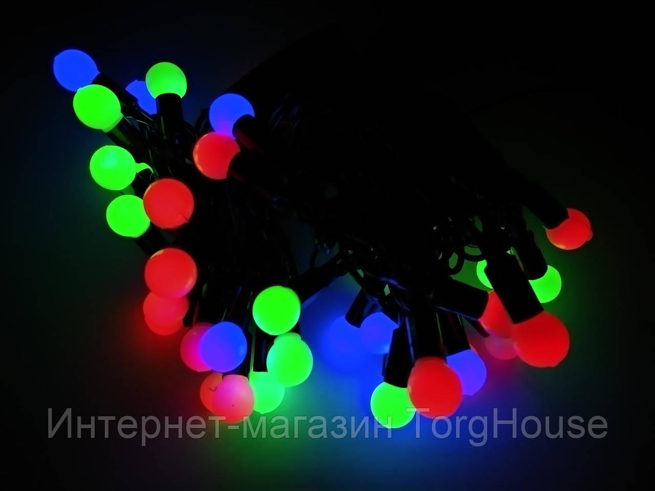 Гирлянда шарики (фигура) 40 л. LED светодиодная 5 м.