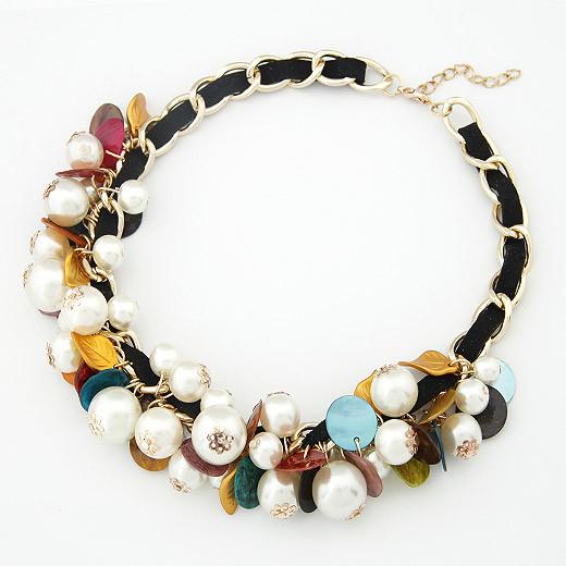 Кулон ожерелье на черном шнурке с цепочкой золотой P004087