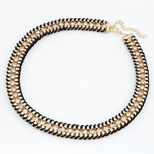 Колье ожерелье золото с черным  P010402