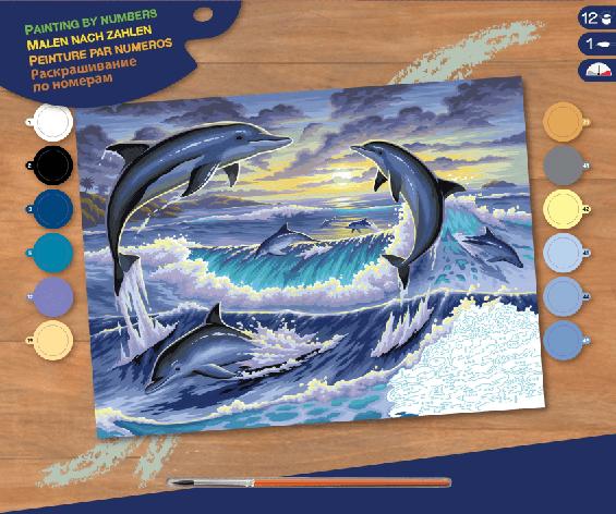Набор для творчества Sequin Art PAINTING BY NUMBERS SENIOR Dolphin Sunrise SA0563                   , фото 2