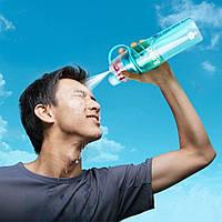 Спортивная фитнес спреер Бутылка New B. Blue ( New Button Bottle) 600 мл с распылителем, шкалой и дозатором