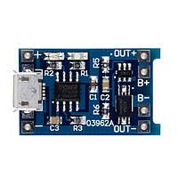 Радиоконструктор Модуль зарядки Li-Ion аккумуляторов с USBmicro на TP4056, с защитой батареи