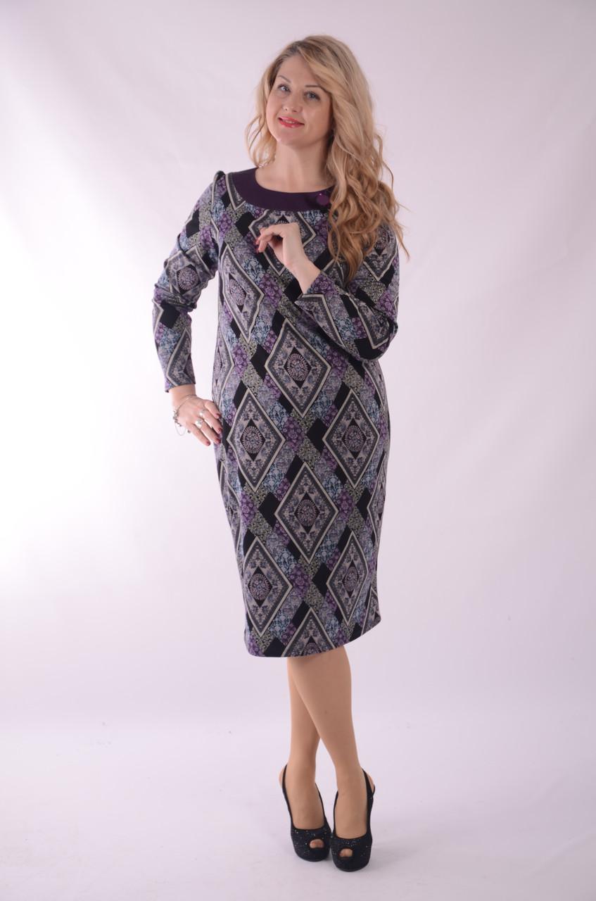 Платье  сиреневое из нежного плотного трикотажа с камнем сваровски, ПЛ 179 , 46,48,50,52