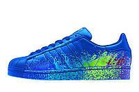 Мужские синие кроссовки Adidas Superstar Supercolor PW Paint Art Blue