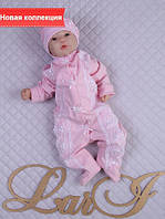 """Нарядный набор """"Виктория"""" (человечек с шапочкой) на выписку из роддома для девочки, розовый"""