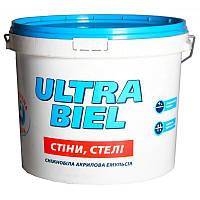 КРАСКА снежно-белая матовая акриловая для стены и потолка - ULTRA BIEL (Снежно-белый) Снежка/Sniezka, 7 кг