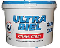 КРАСКА снежно-белая матовая акриловая для стены и потолка - ULTRA BIEL (Снежно-белый) Снежка/Sniezka, 20 кг