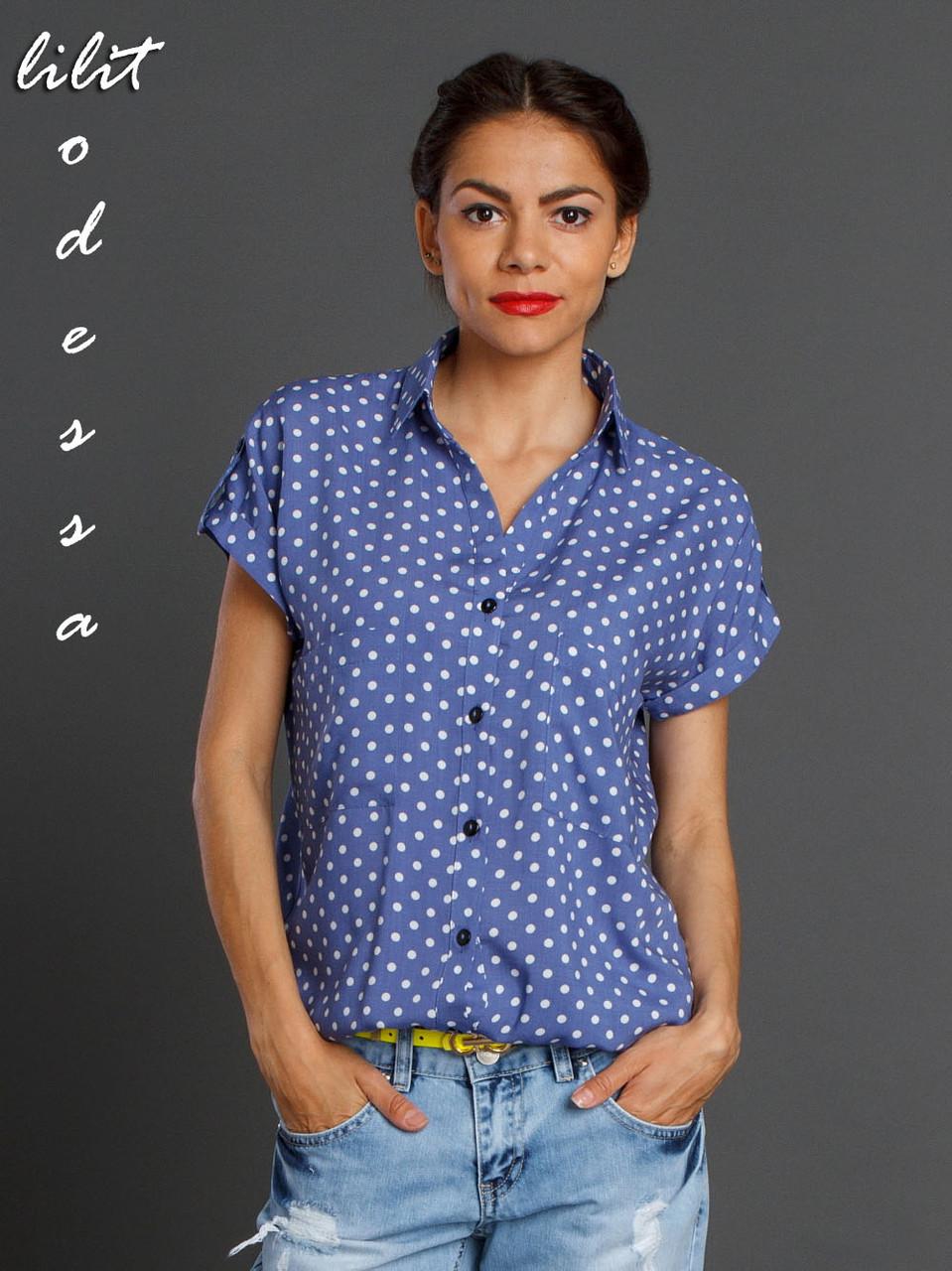 Блуза летняя на резинке синий