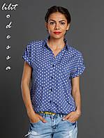 Блуза летняя на резинке синий, фото 1