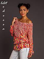 Блуза с цветочным принтом красный/желтый до 50р, фото 1