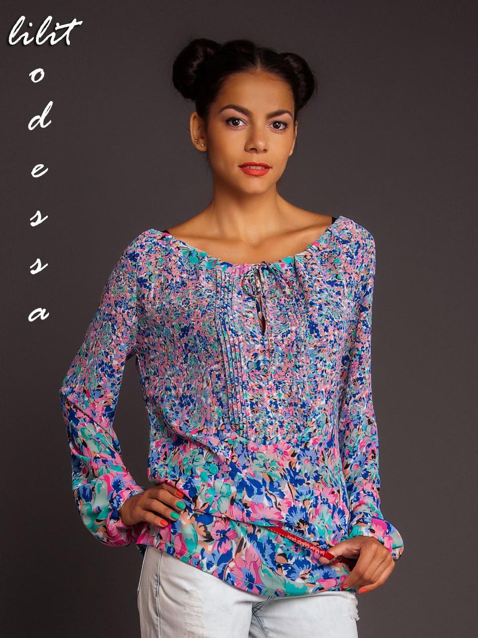 Блуза с цветочным принтом голубой/розовый до 50р