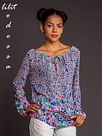 Блуза с цветочным принтом голубой/розовый до 50р, фото 1