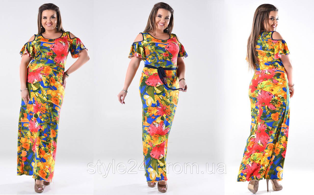 Плаття довге з квітами та поясом великих розмірів(46-60)  продажа ... d1792824c4f7f