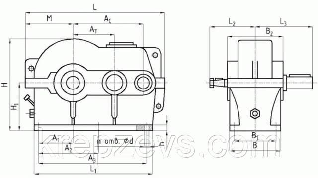 Схема цилиндрического редуктора РЦД