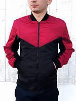 Бомбер мужской, куртка весенняя, летняя, черный + красный