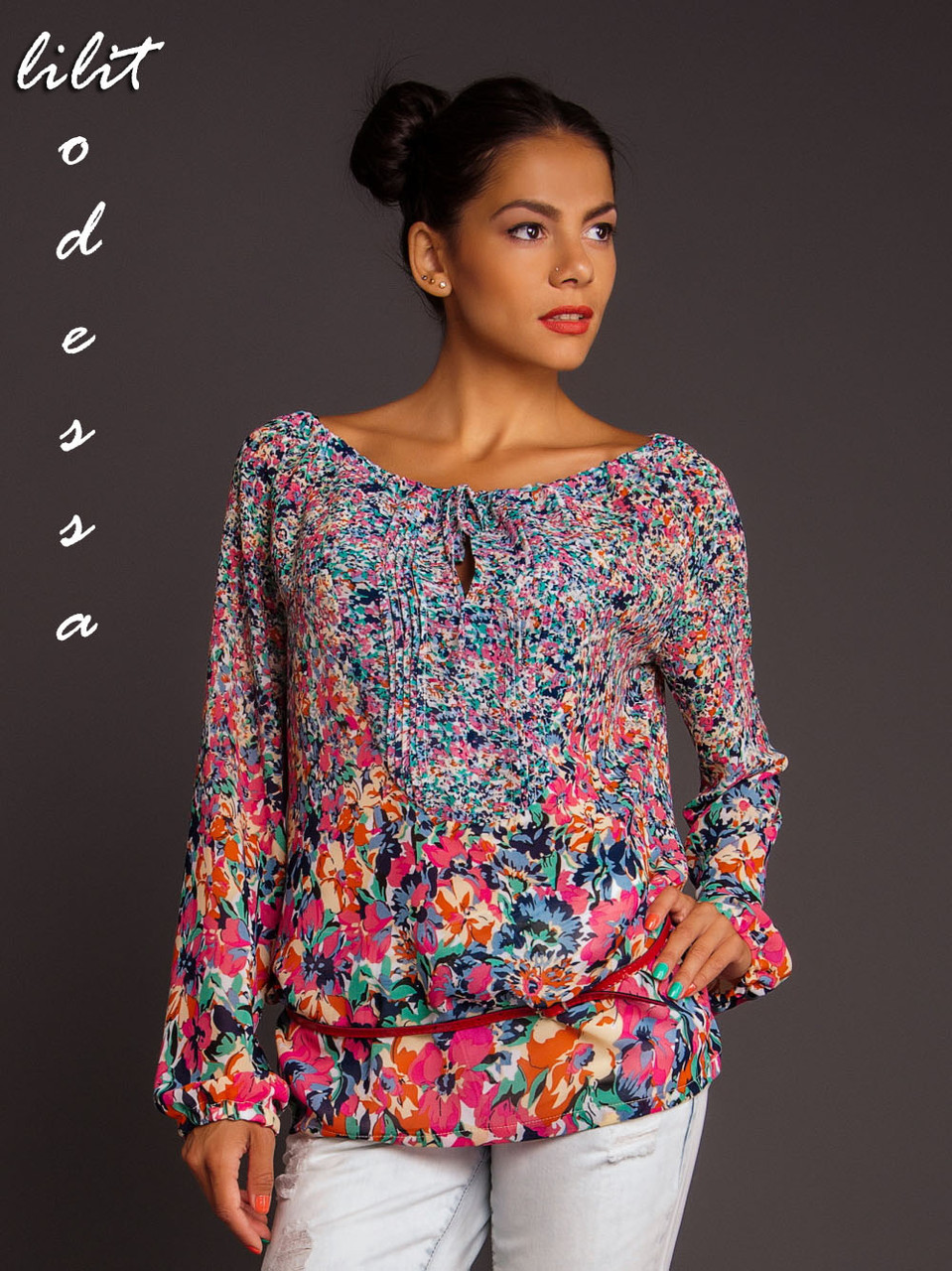 Блуза с цветочным принтом синий/красный до 50р