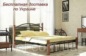 Кровать Кассандра металлическая на деревянных ножках