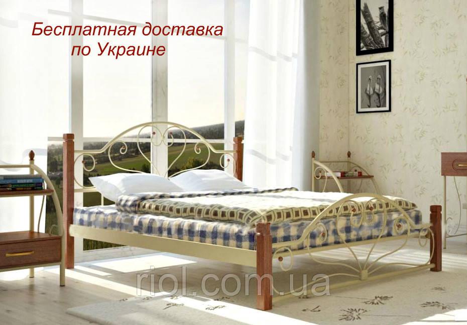 Кровать металлическая Джоконда на деревянных ножках двуспальная