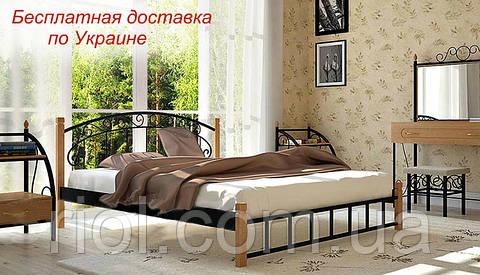 Кровать Афина из металла на деревянных ножках