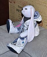 Зайчик мальчик, интерьерная тряпичная кукла, 44 см