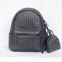Серый рюкзак, портфель + в комплекте кошелек-косметичка.