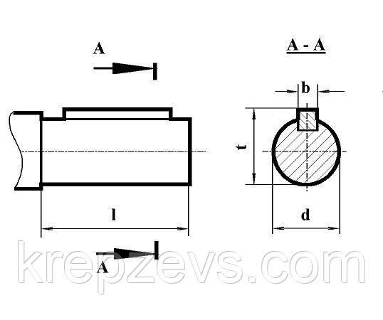 Размеры цилиндрических концов входных и выходных валов редуктора РЦД