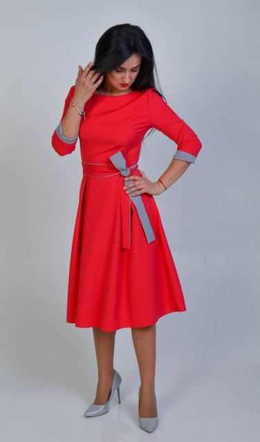 18df9668bb7 ... Повседневное платье с пышной юбкой красное размер 44