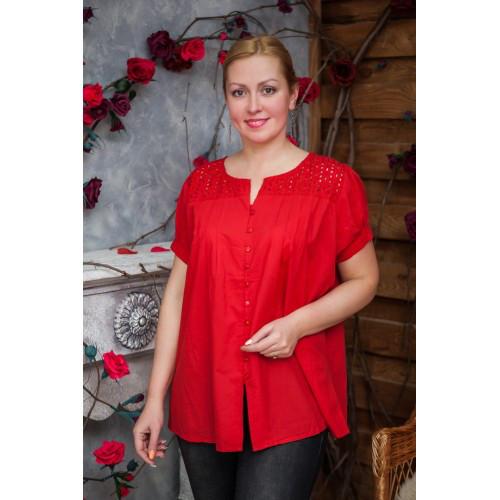 Блуза большие размеры натуральная ткань 639-1ИН, фото 1