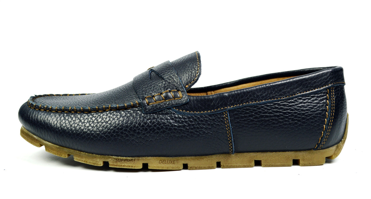 Черно-синие мужские кожаные мокасины VLAD XL