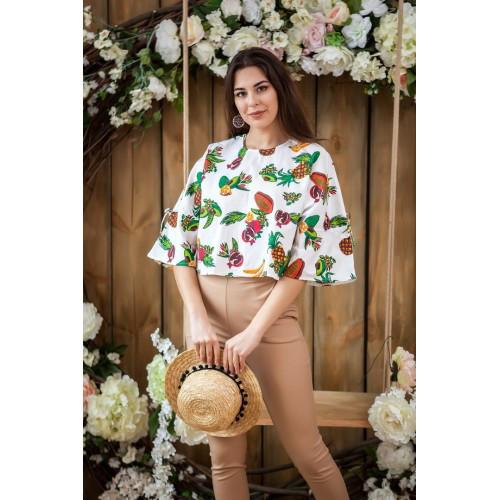 Летняя блуза с принтом фрукты