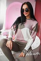 Женский спортивный костюм мелкой вязки из хлопка, в расцветках (КР-26-0418)