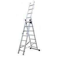 Bagliore лестница трехсекционная алюминиевая 3х8