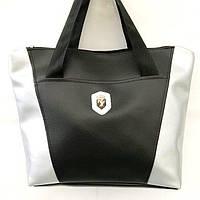 Универсальные сумки КОЖВИНИЛ Ferrari (черный+серебро)30*41