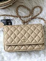 Мини-сумочка Chanel WOC беж (реплика), фото 1