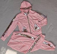Спортивный костюм для девочек с паетками перевертыш детский