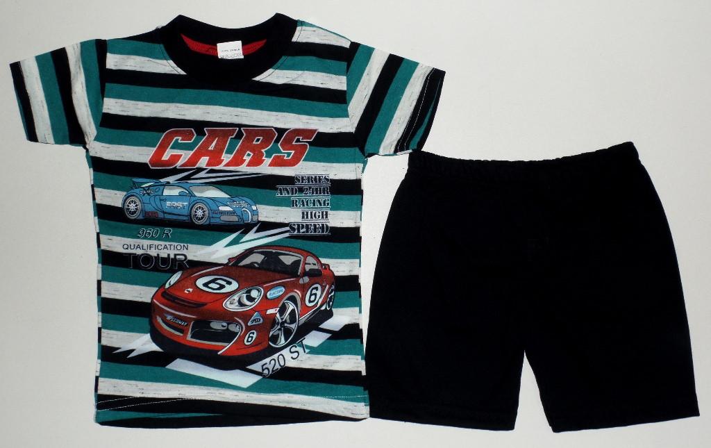 """Детский костюм  летний на мальчика """" Cars """" 2,3,4 года (полномерный) цвет морская волна"""