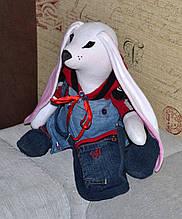 Зайчик мальчик, интерьерная тряпичная кукла, 43 см