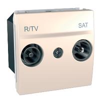 Розетка ТВ-R-SAT проходная Слоновая кость Unica Schneider, MGU3.456.25