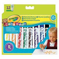 Фломастеры, широкие смываемые для самых маленьких 12 цветов ТМ Crayola