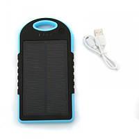 Портативное зарядное устройство от солнечной батареи 5000 мА (голубой), фото 1