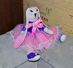 Зайчик девочка, интерьерная тряпичная кукла, 43 см