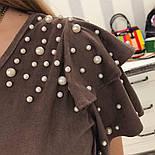 Женское замшевое платье с жемчугом (4 цвета), фото 9