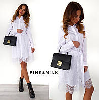 Платье рубашка стильная со съемной кружевной юбкой  Smc2276