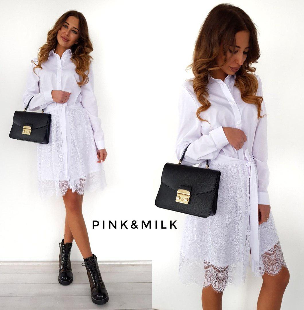 6a1c93459d5 Платье рубашка стильная со съемной кружевной юбкой Smc2276 - Shoppingood в  Харькове
