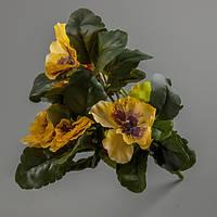 Искусственный цветок анютины глазки (желтый).