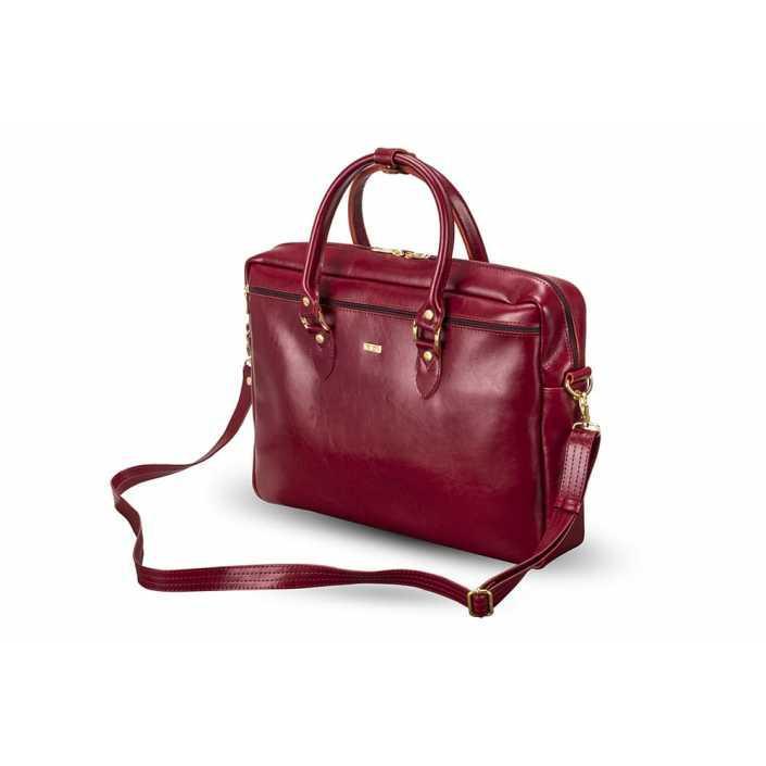 Кожаная женская сумка для ноутбука красная Marina