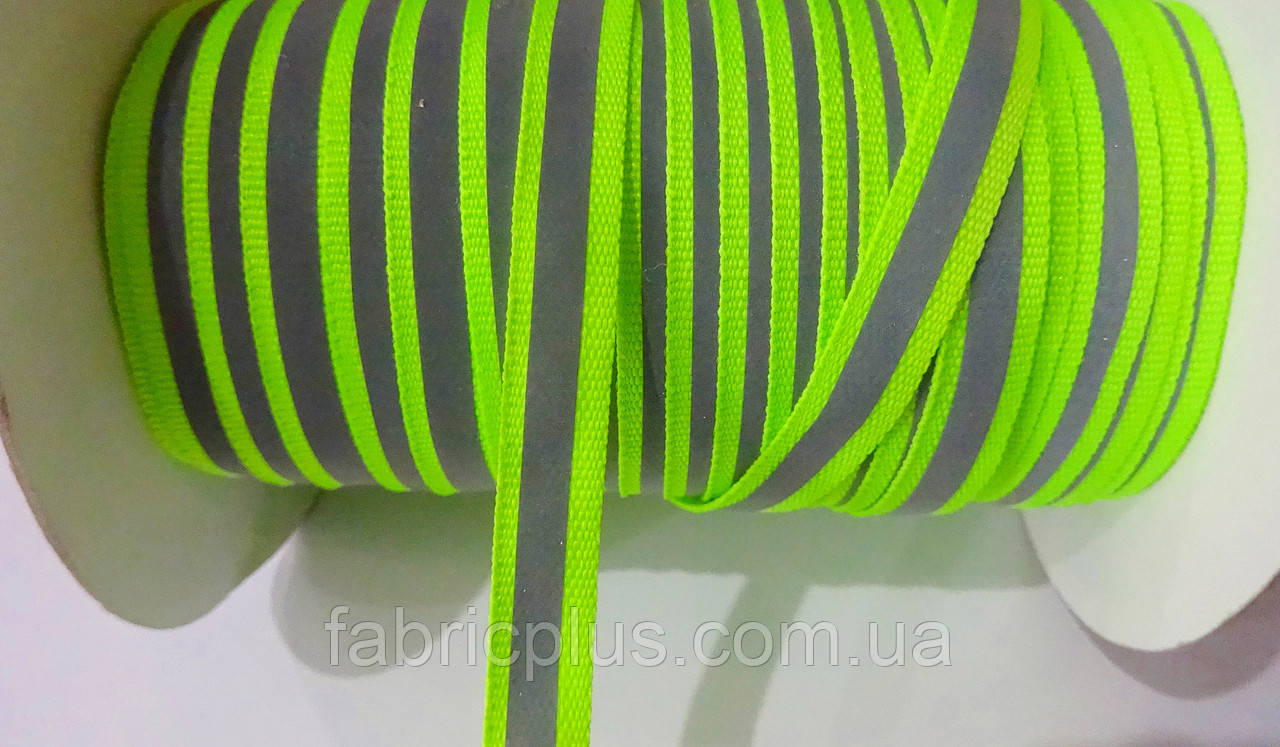 Тасьма репсова стрічка світловідбиваюча (12 мм) салатовий неон